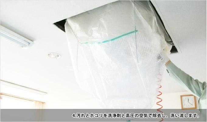 業務用エアコンクリーニング-4汚れとホコリを洗浄剤と高圧の空気で除去し、洗い流します
