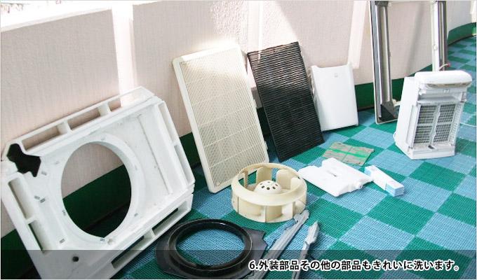 業務用エアコンクリーニング-6外装部品その他の部品もきれいに洗います
