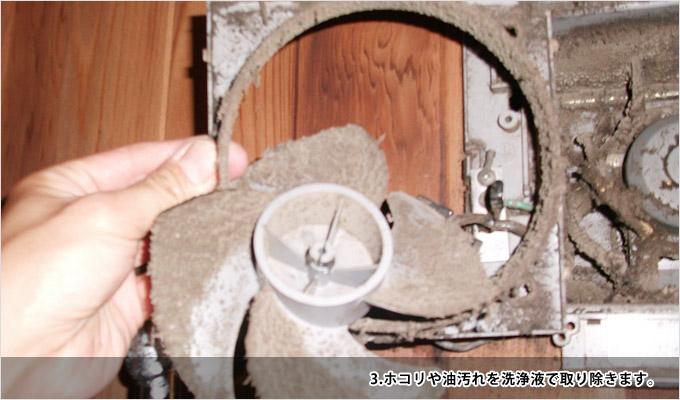 換気扇クリーニング-3ホコリや油汚れを洗浄液で取り除きます
