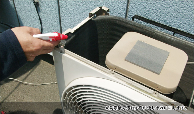エアコン室外機クリーニング-4洗浄液で汚れを洗い流しきれいにします